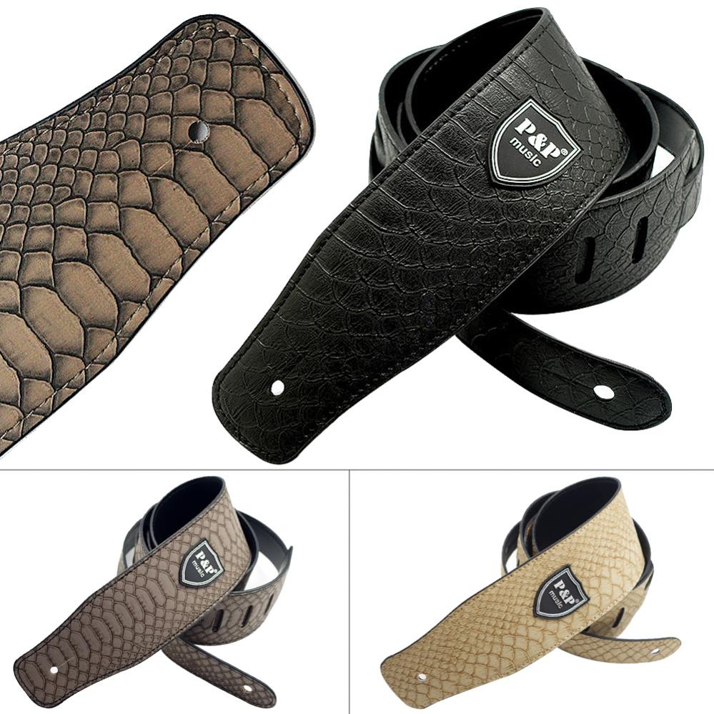Guitar-Acoustic-Bass-Strap-Belt-62-5mm-Wide-PU-Leather-with-Python-Skin-Pattern